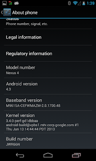 Download Android 4.3 Version for Google Nexus 4 Leaked