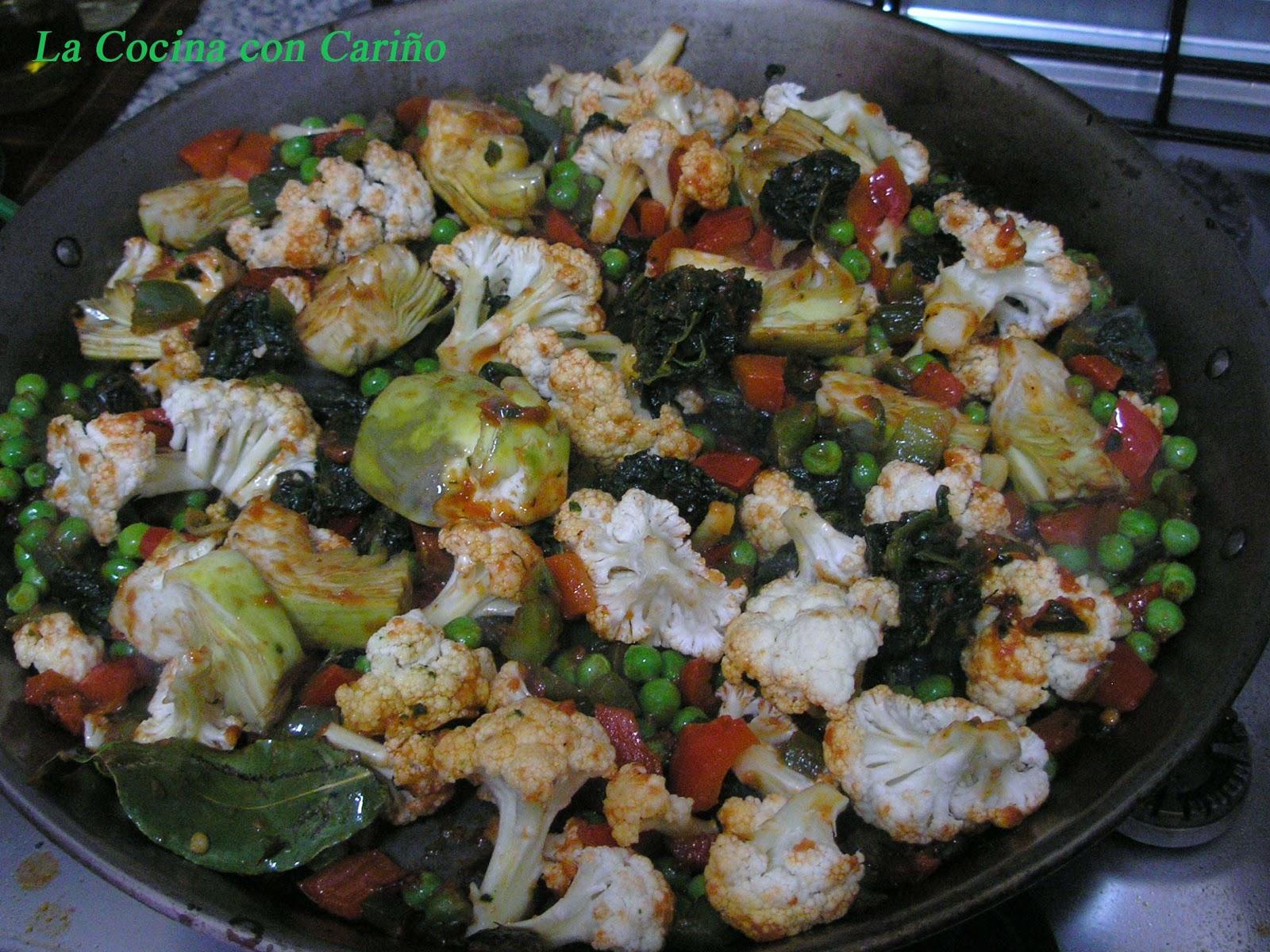 La cocina con cari o arroz con verduras paella de verduras for Como hacer paella de verduras