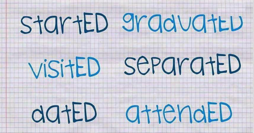 imagen con ejemplos de verbos regulares
