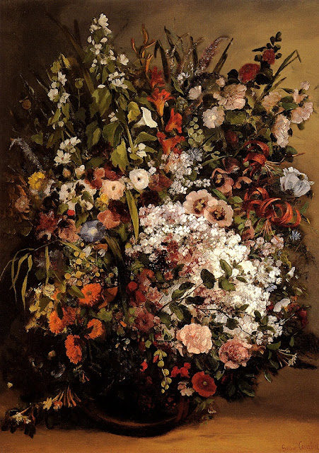 bouquet of flowers,gustave courbet,paintings
