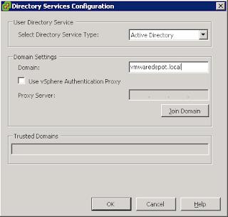 ESXi Directory Service Configuration menu