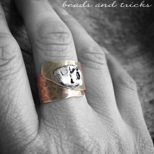 Anello a fascia regolabile in ottone similoro e argento .925