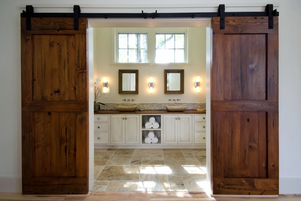 Residential rustic sliding barn door hardware no hassle sliding from the barn tin your home sliding doors and hardware kits vtopaller Image collections