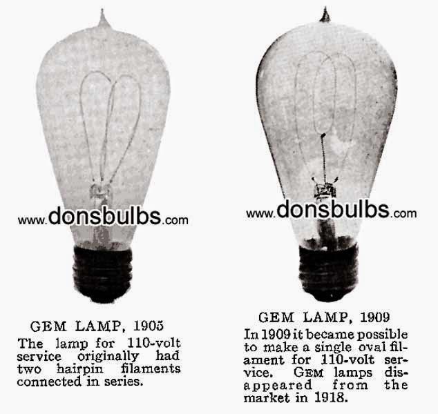 GEM LAMP, 1905, 1909