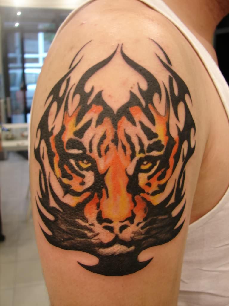3d Tribal Tiger Face Tattoo On Biceps