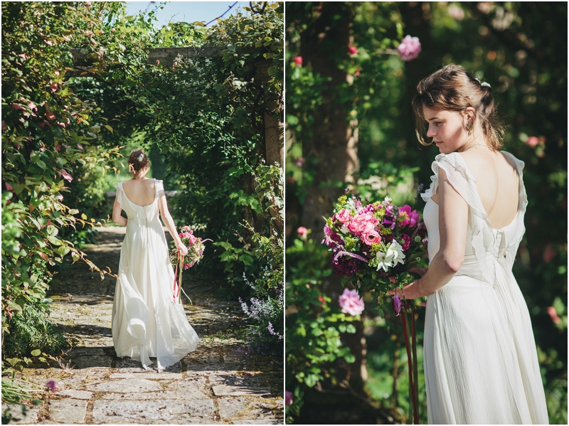 Bride with flowers at Mapperton Gardens