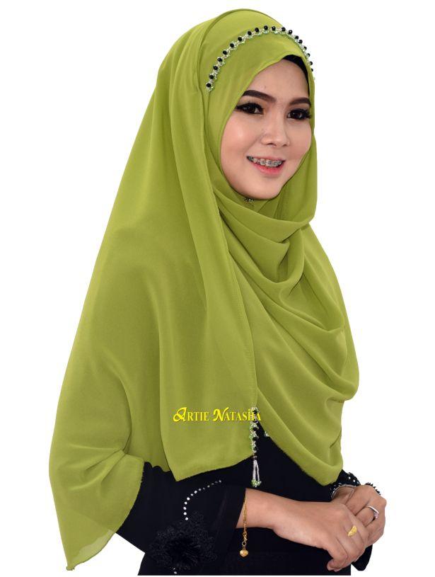 Natasha Puteri Tudung Instant Shawl Chiffon apple green