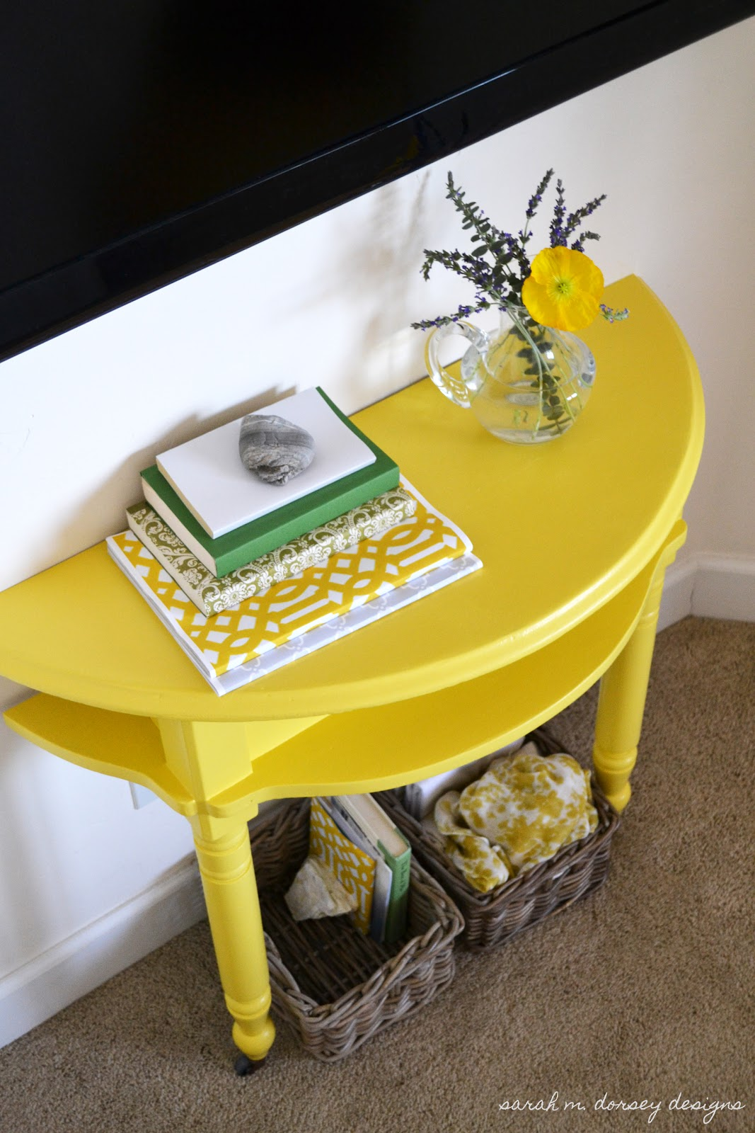 Sarah m dorsey designs yellow console table for master for Sofa table yellow