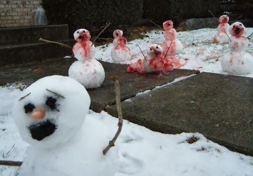A snowman reenactment of Shaun of the Dead.
