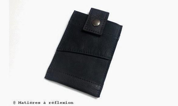 Pochette Iphone Noir en cuir vintage