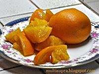 Апельсины охладить и порезать