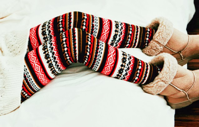Amazing, Colorful Striped, Sweater Christmas Tights with Ugg Boots, Love It