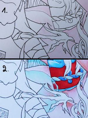 Coloriser un tissu transparent bleu aux feutres à l'alcool