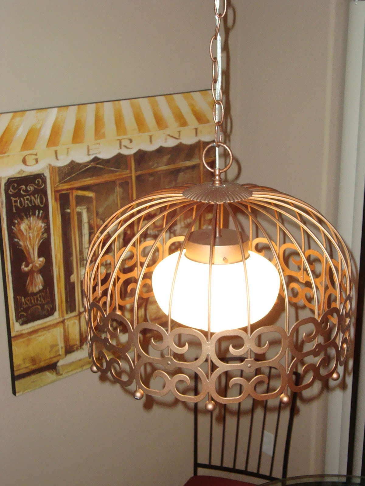 This Fixture Only Cost Us 40 Total Including The Light 5 Spray Primer And Metallic Paint 20 Chain Kit Glass