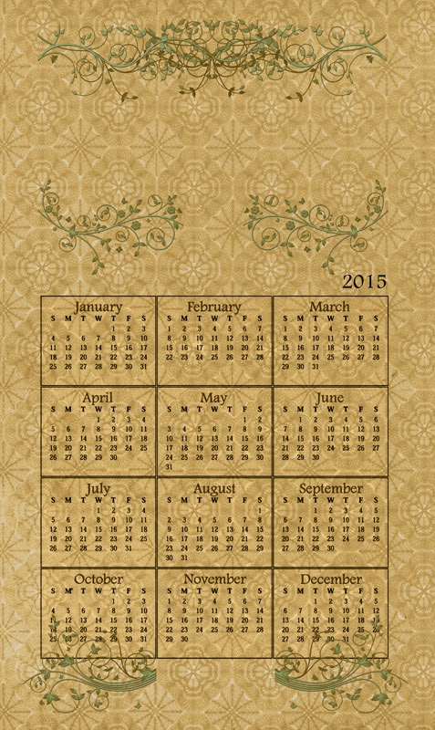 Vintage style calendar with leafy designs and a full year calendar for 2015.