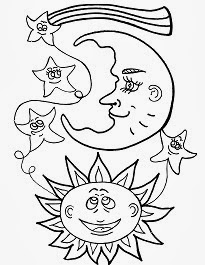 desenhos de sol e lua para pintar