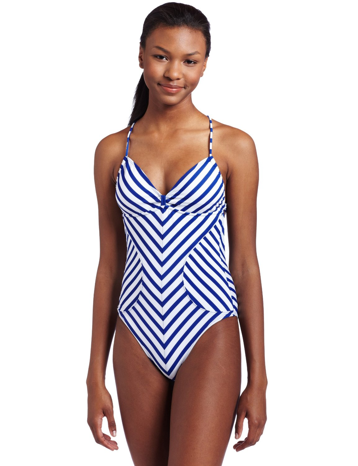 Our one piece swimwear features some of the season's trendiest styles - from floral one piece swimsuits to colorblock to ruffle and off the shoulder looks. We love to double our one piece as a body suit by pairing bathing suits with jeans or shorts.