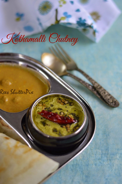 coriander chutney, kothamalli chutney recipe, cilantro chutney recipe, no coconut chutney recipe, easy chutney