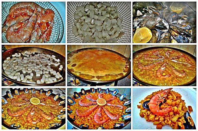 Preparación de la paella de marisco