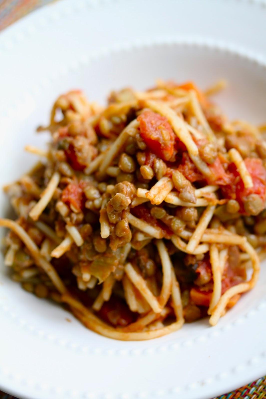 lentil spaghetti bolognese sauce