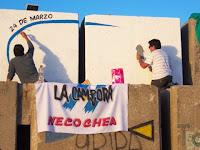Pintada del mural por el día de la Memoria en La Cámpora Necochea Quequén