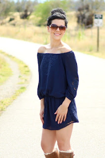 Navy Eyelet Boho Chiffon Vintage Tie Dress