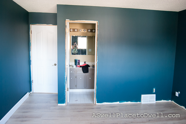 Master Bedroom Progress.  Benjamin Moore Dark Harbor