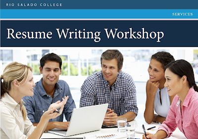 image of flier header for Resume Writing Workshop.  Image of a group of people talking around a table.