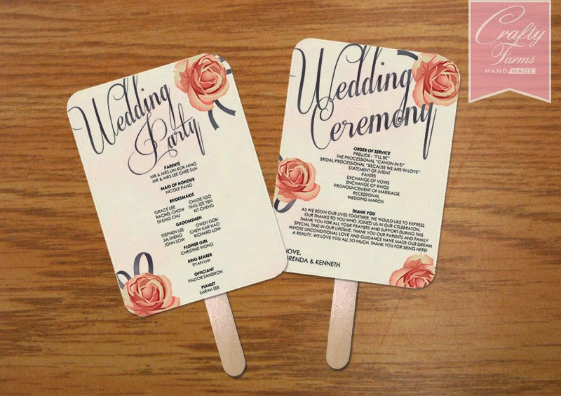 Romantic Rose Themed Church Wedding Program Fan Malaysia