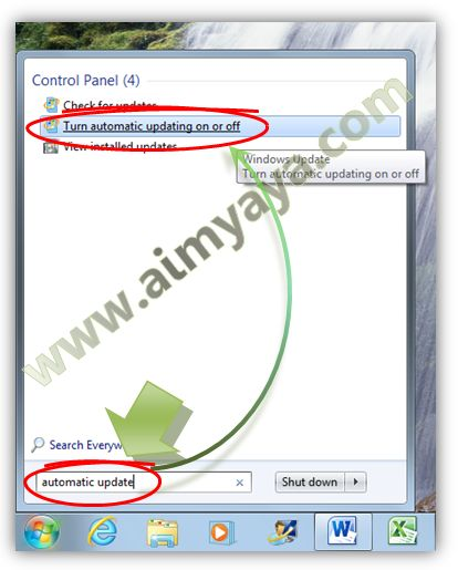 Gambar: Menjalankan pengaturan setting automatic update windows 7