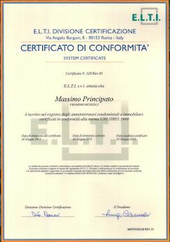 Certificato UNI di conformità