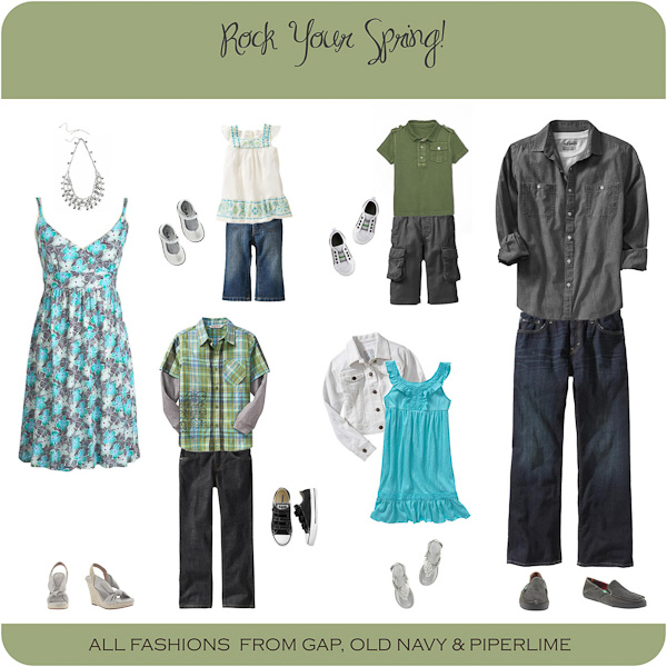 Family Photo Wardrobe Ideas with aquas grays and greens