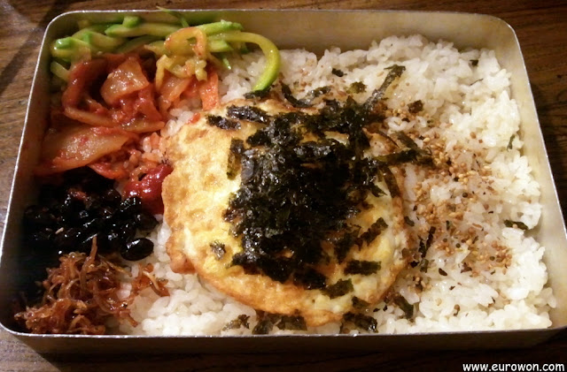 Lata de comida coreana para escolares