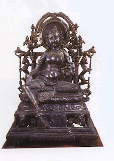 Tara, bronze from Kurkihar, 9th cent. AD  The figure of Tara embodies the classical concept of feminine beauty and bears delicately-wrought ornaments. She wears different earrings in either ear, bangles and armlets; a pendanted band adorns her forehead while the lightest of anklets grace her feet.