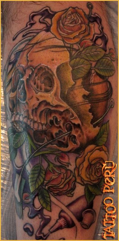Tatuajes: Historia de los Tatuajes. Dibujos_de_craneos_con_rosas