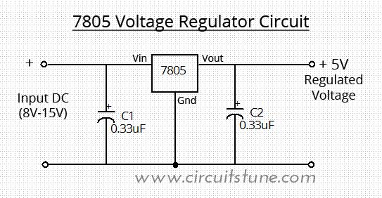 7805 voltage regulator circuit circuitstune rh circuitstune com automatic voltage regulator circuit diagram automatic voltage regulator schematic diagram