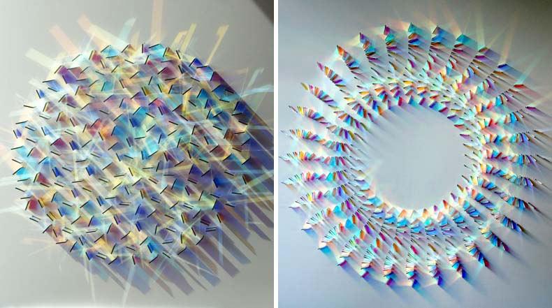 Coloridos patrones de luz creados con arreglos sencillos de vidrio por Chris Wood