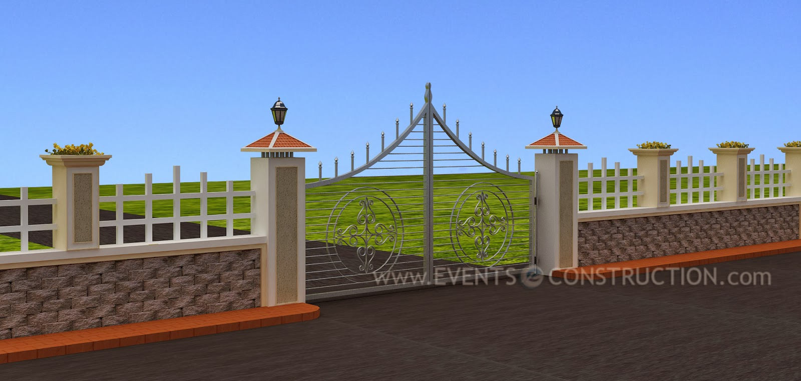 Design Of Compound Wall Gate : Compound wall design nicely designed and gate