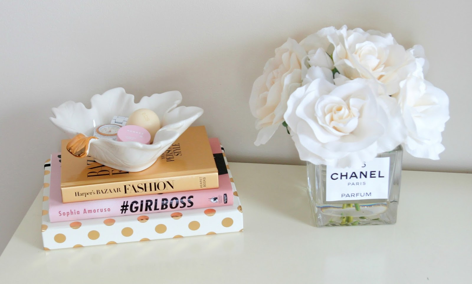 Girly Desk - DIY Desk Decor - DIY Chanel Decor - Fashion Books - TJ Maxx Decor - Kate Spade Polka Dot Agenda