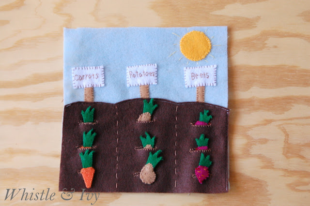 Vegetable Garden Felt Quiet Book Page Template Pattern