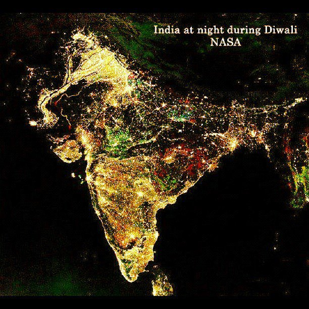 nasa releases map of india on diwali night -#main