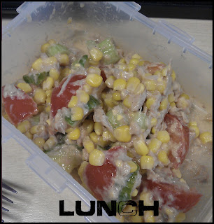 WIAW tuna salad - tuna, mayo, sweetcorn, tomato and cucumber