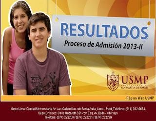 Resultados exámen admision USMP 2013-2 Sedes Lima Chiclayo