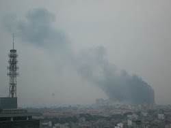 Fire in Hanoi towers