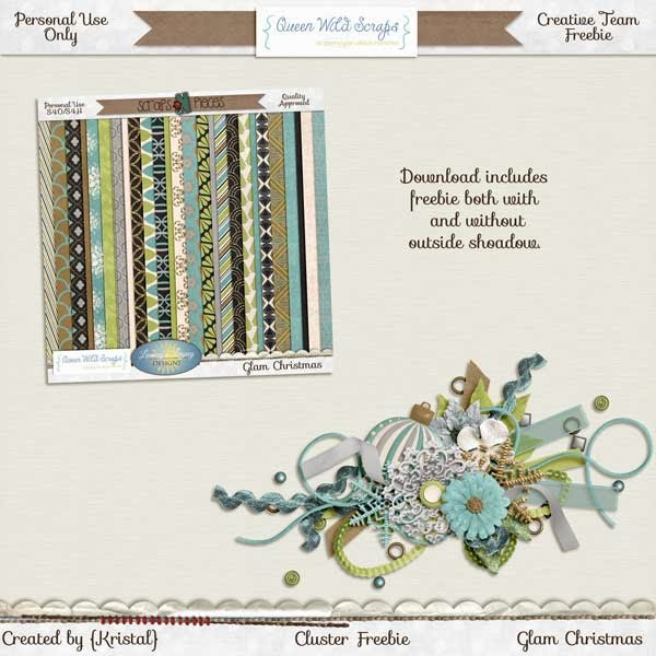 Glam Christmas by QueenWild Scraps and a Freebie!