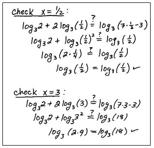 Worksheets Solving Logarithmic Equations Worksheet openalgebra com solving logarithmic equations be sure to check see if the solutions that you obtain solve original equation in this study guide we will put a mark next th