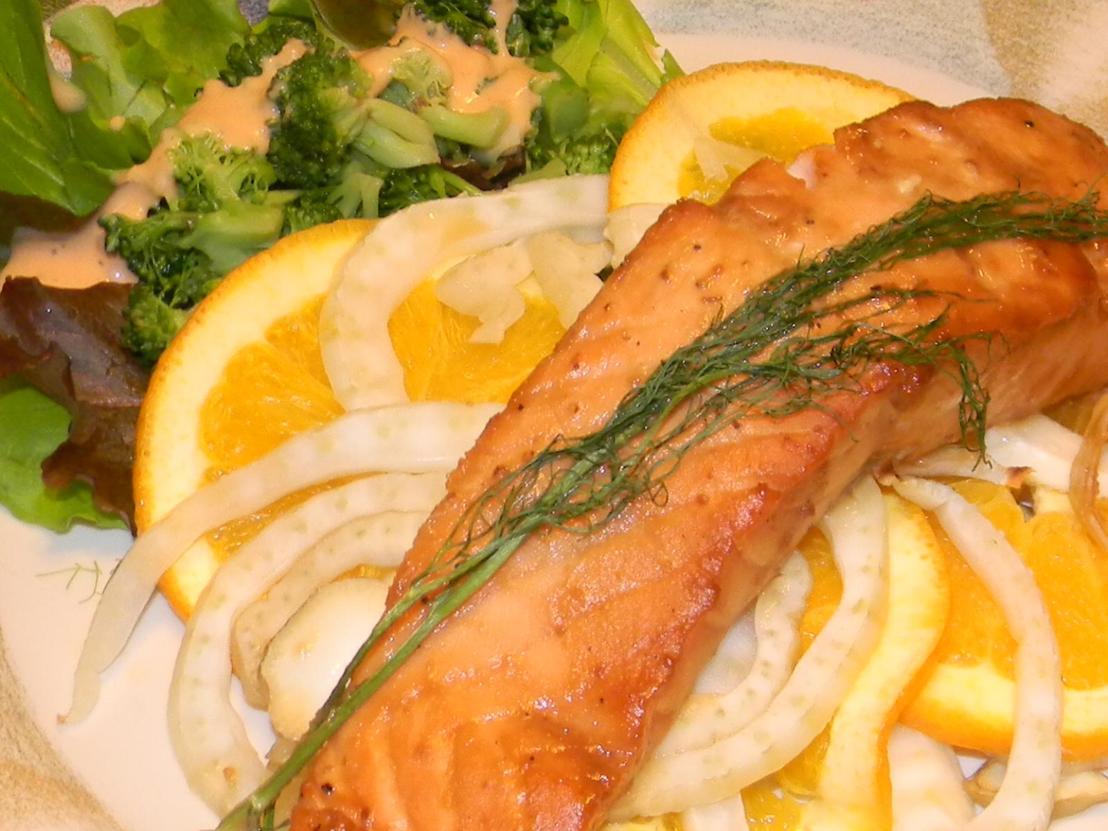 Miso Salmon With Orange And Fennel Recipe — Dishmaps