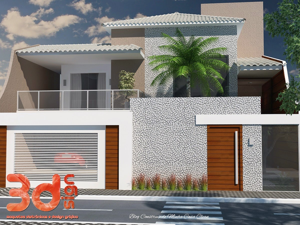 Construindo minha casa clean fachadas de casas com muros - Fachada de casa ...