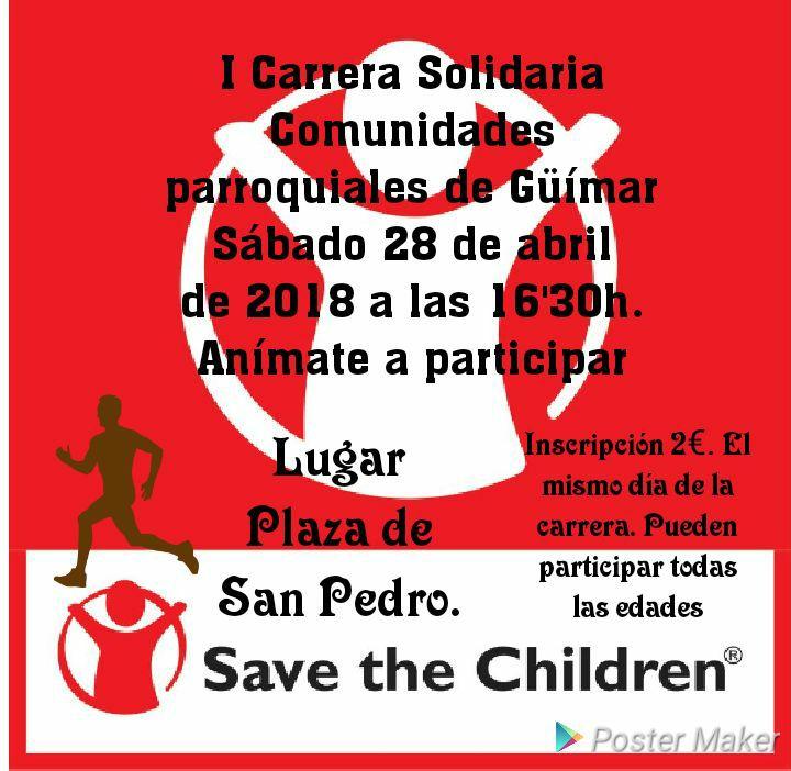 I Carrera Solidaria Comunidades Parroquiales de Güímar. Pincha en el cartel