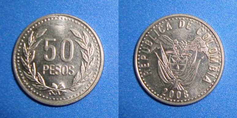 monedas del mundo: Moneda 50 pesos de Colombia